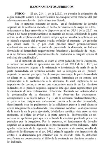 Auto Procedimiento Ordinario 213/2017